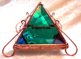 Cool colors mix inside this Pyramid Glass Box