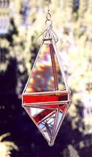 A large pendant shape with blazing colors
