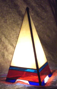 Mountain Peak Pyramid Lamp has great light to read next to.